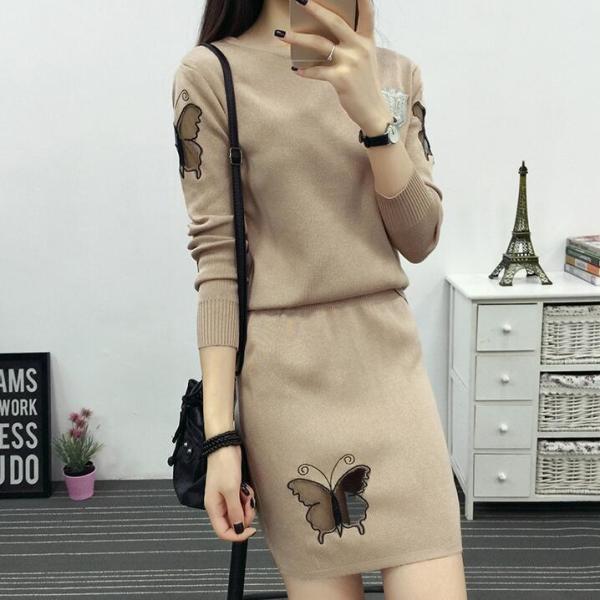 2020 Mùa Thu Mẫu Mới Đầm Phiên Bản Hàn Quốc Thời Thượng Dễ Phối Quần Áo Nữ Dệt Kim Set Váy Bộ Hai Chiếc Ôm Mông Mùa Xuân Và Mùa Thu Thủy Triều