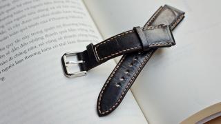 Dây đồng hồ nam da bò handmade mầu đen - Dây đồng hồ handmade nam da bò nhập khẩu - Dây đồng hồ Mino Crafts size22-20mm DA1801A thumbnail