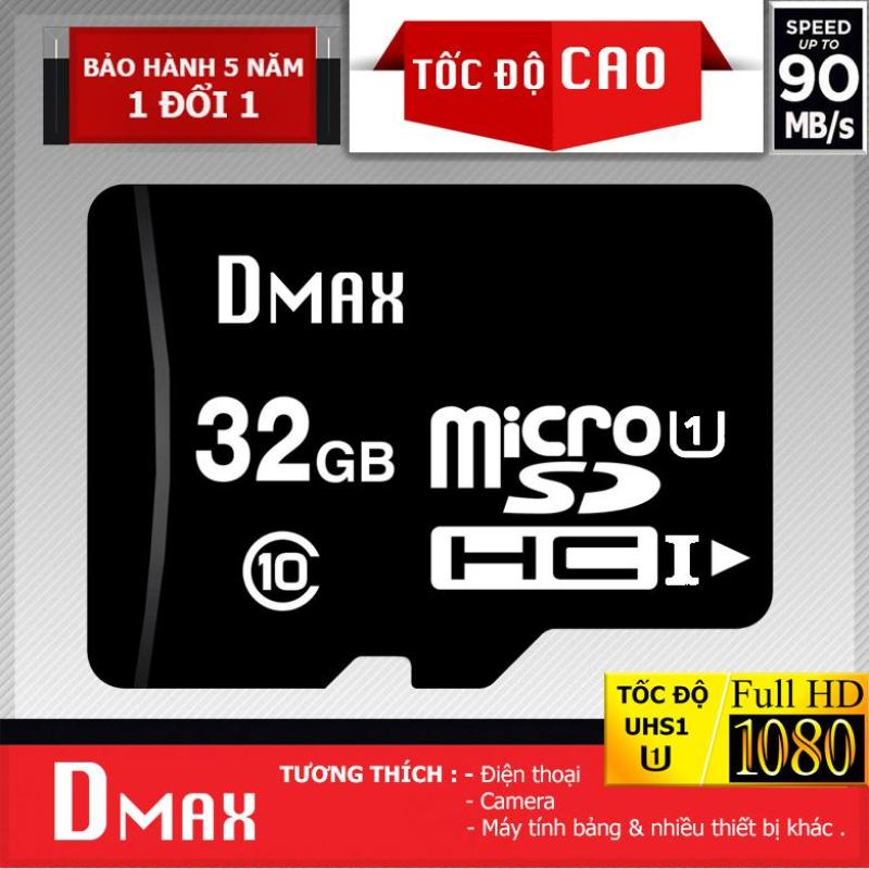 Thẻ nhớ 32GB Dmax Micro tốc độ cao upto 90MB/s SDHC class 10 - Bảo hành 5 năm