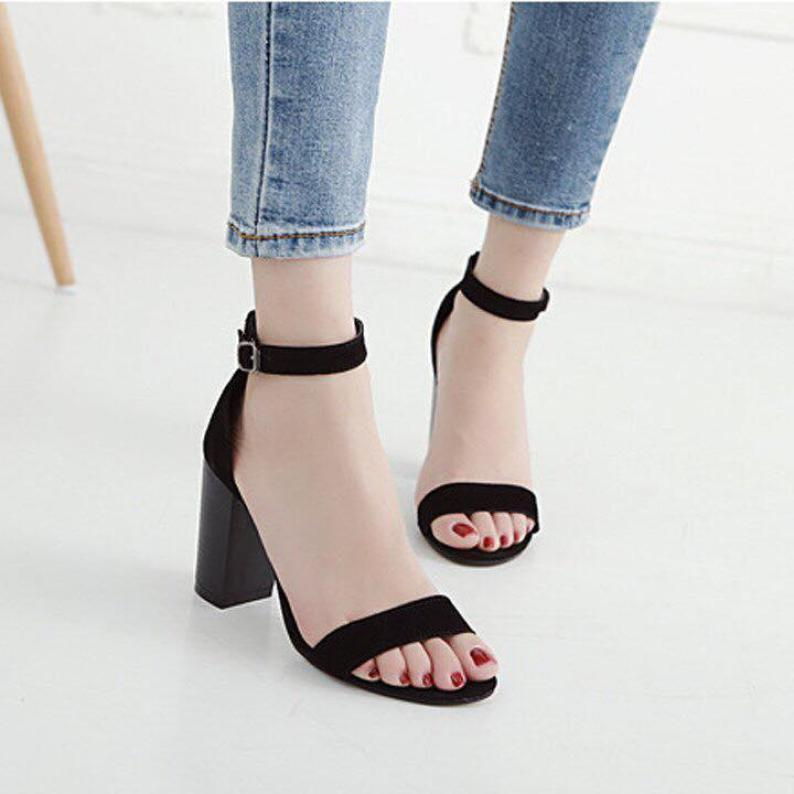 Giày cao gót 7cm bản ngang đen giá rẻ
