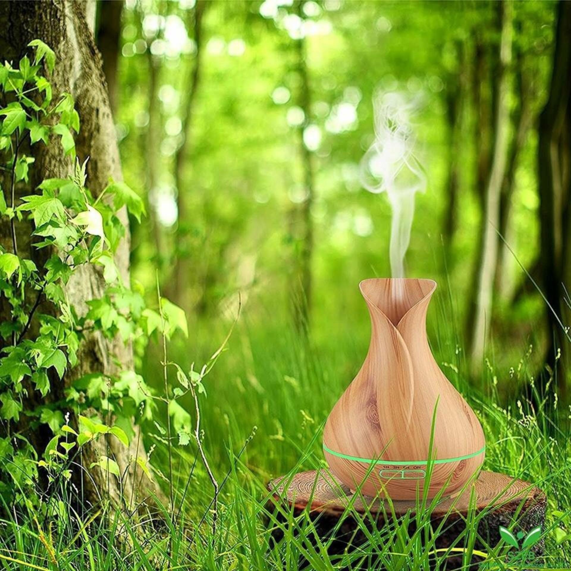 Máy khuếch tán tinh dầu bình hoa nâu dung tích 400ml  lộc không khí, tạo ẩm tặng 10ml tinh dầu ngọc lan tây Ngọc Tuyết