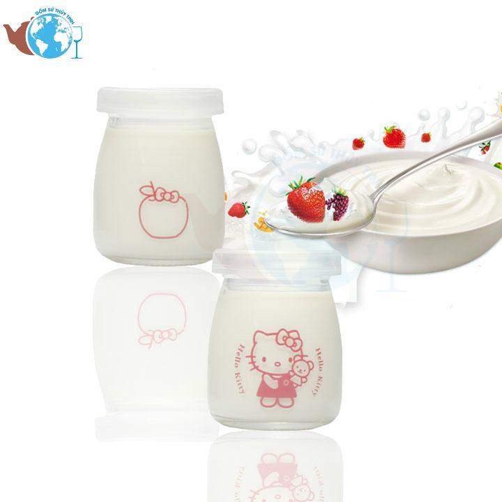[HCM]12 hũ đựng sữa chua - Hộp 12 hủ thủy tinh đựng sữa chua 100ml in hình ngộ nghĩnh ngẫu nhiên đảm bảo an toàn thực phẩm