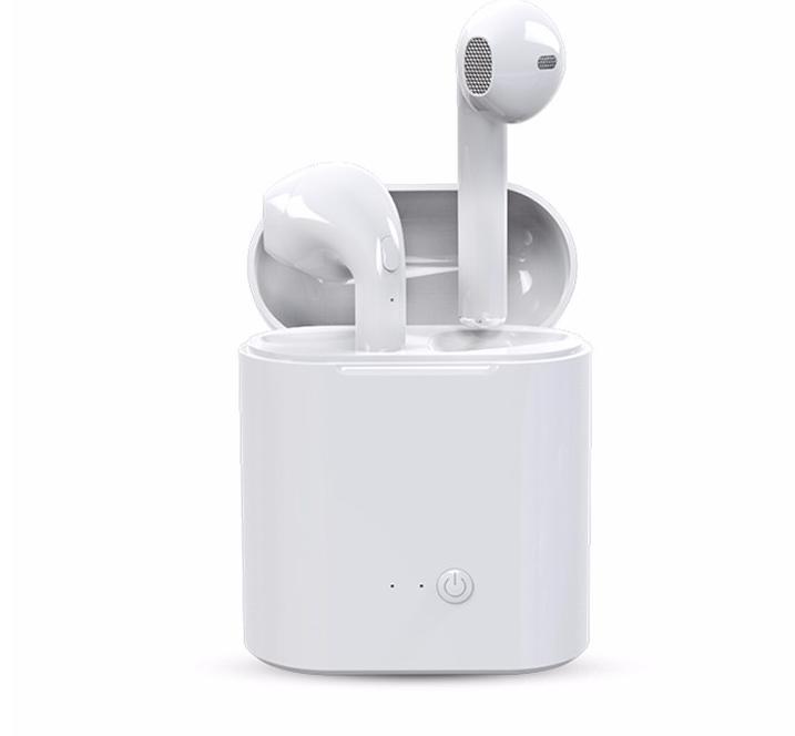 Tai nghe Bluetooth i7S nghe 2 tai  : Không dây - Nhỏ gọn kèm đốc sạc 3 in 1