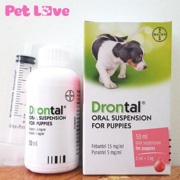 Thuốc uống trị giun trên chó con - Drontal Oral Suspension for Puppies