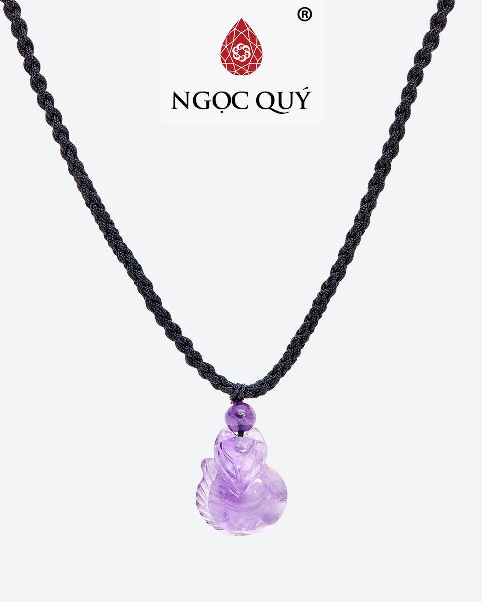 Mặt Dây Chuyền Đá Thạch Anh Tím Hồ Ly 9 Đuôi Mệnh Hoả Thổ (màu tím) - Ngọc Quý Gemstones