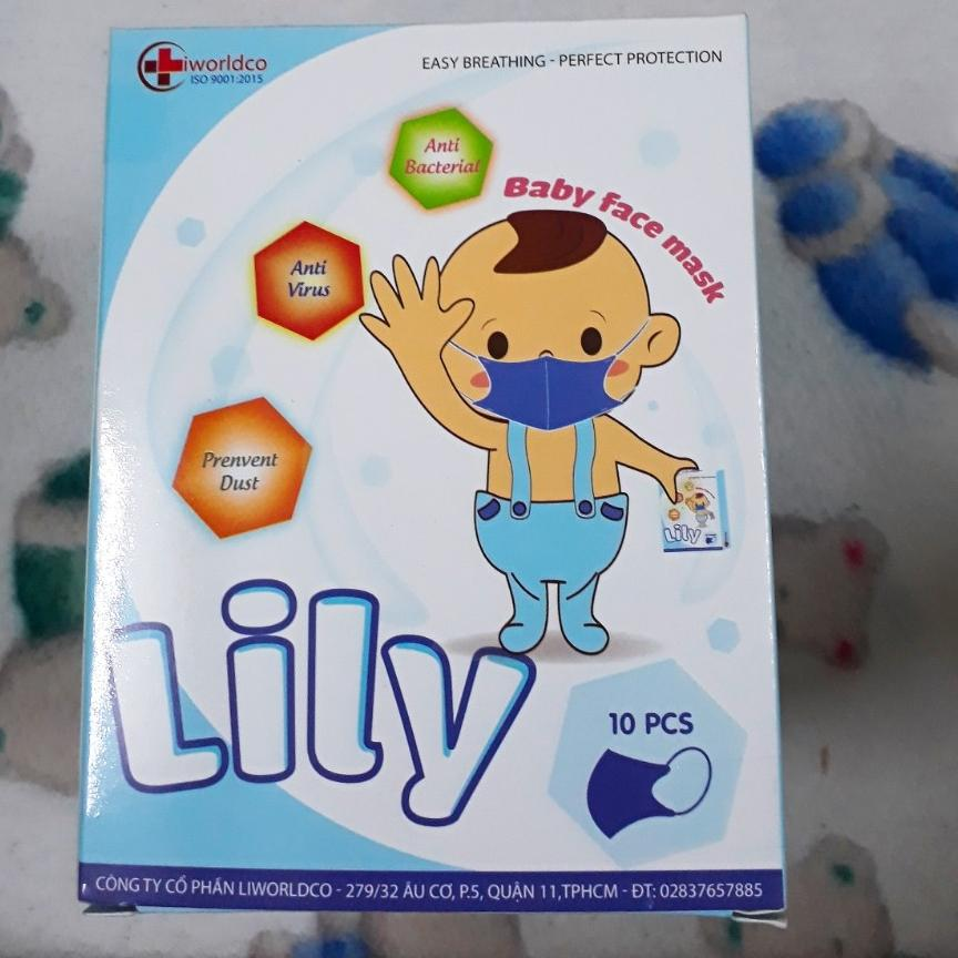 Combo 10 hộp Khẩu trang em bé lily cao cấp