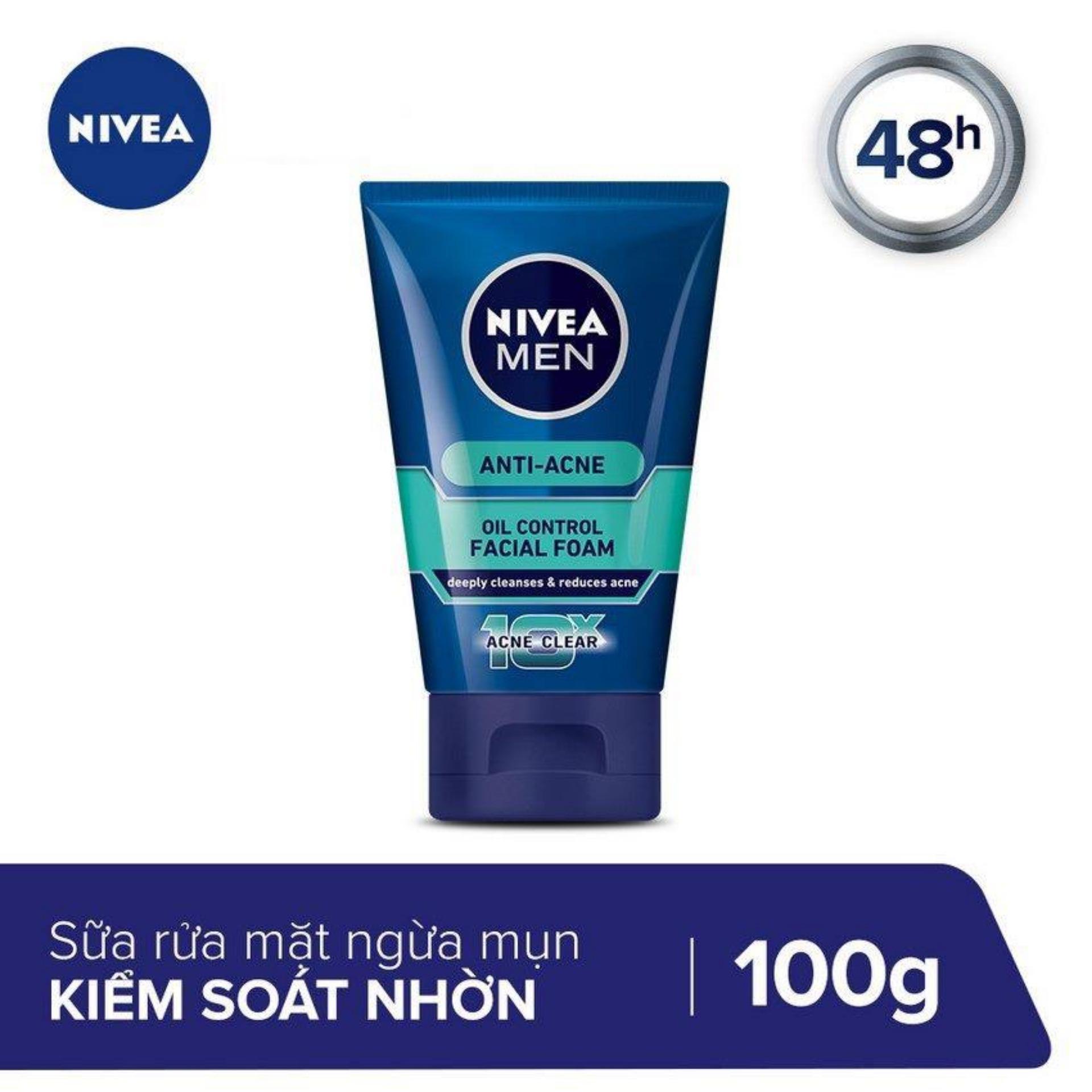 Sữa rửa mặt nam ngăn ngừa mụn tối ưu Nivea Men 10X Acne Clear Face Wash 100g