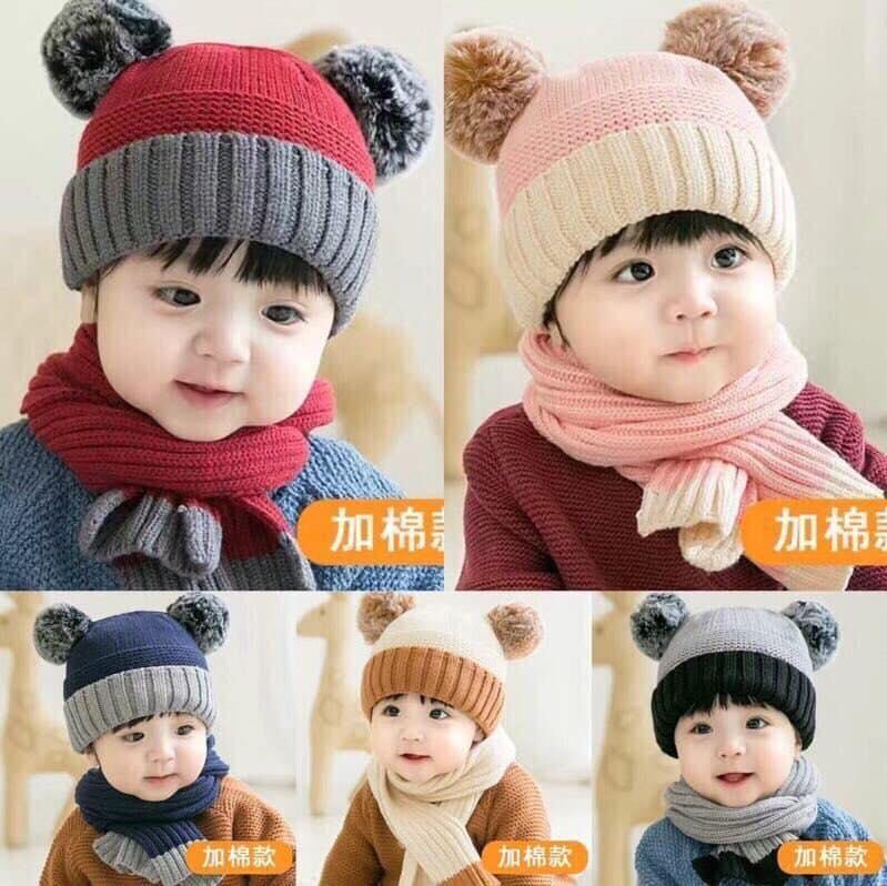 Giá bán Set khăn,mũ len hai quả bông cho bé(giao màu ngẫu nhiên)