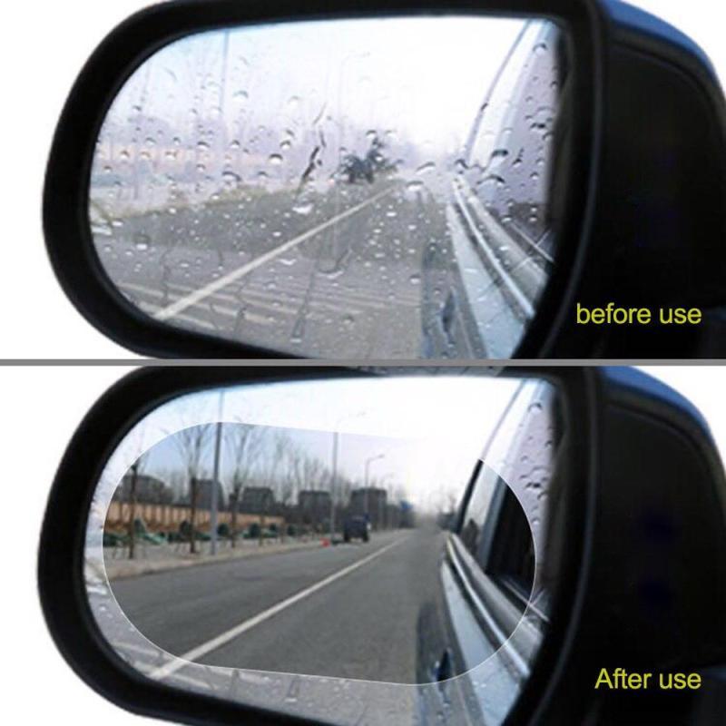 [Xem VIDEO] 2 Miếng dán chống đọng nước và Chống lóa gương ô tô, xe máy (Loại to bầu dục 100x145mm) Hàng Nhật - DGC18