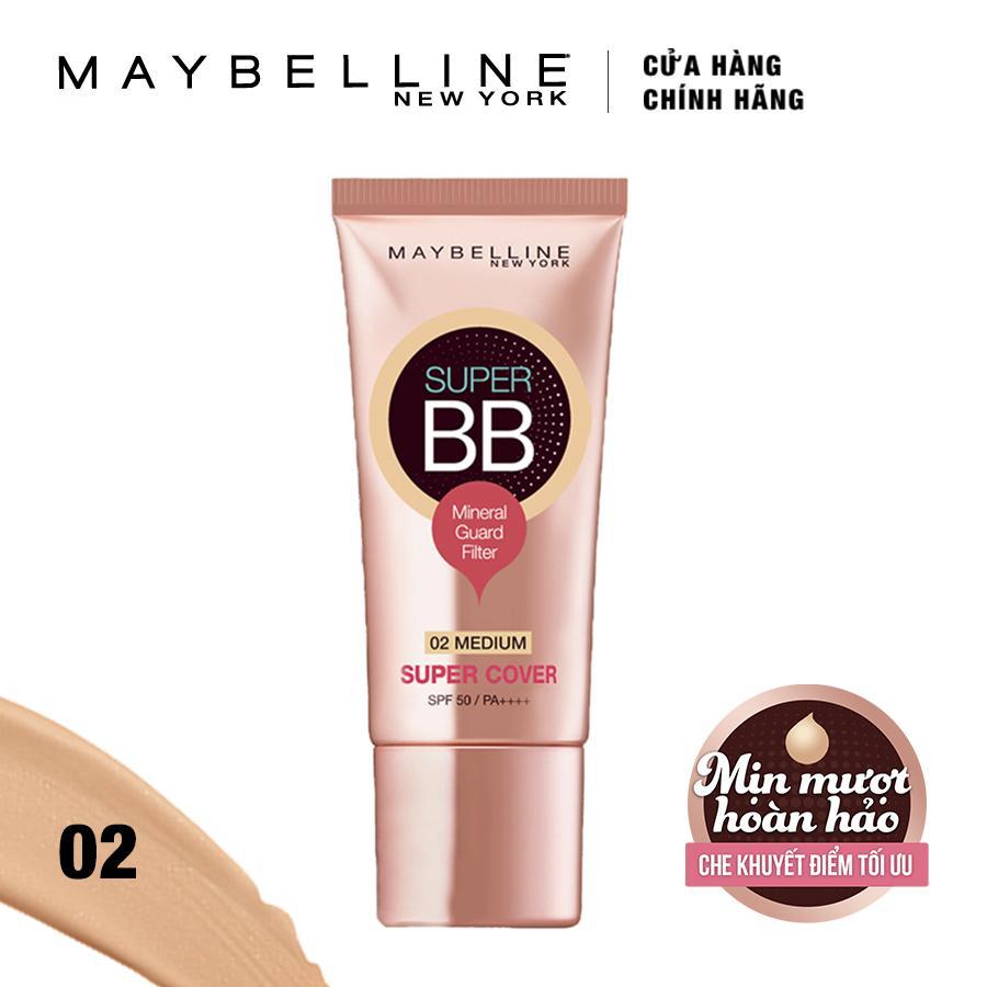 Kem trang điểm siêu mịn bảo vệ Maybelline New York BB Super cover SPF50/PA++++ 30ml (Tông trung bình)