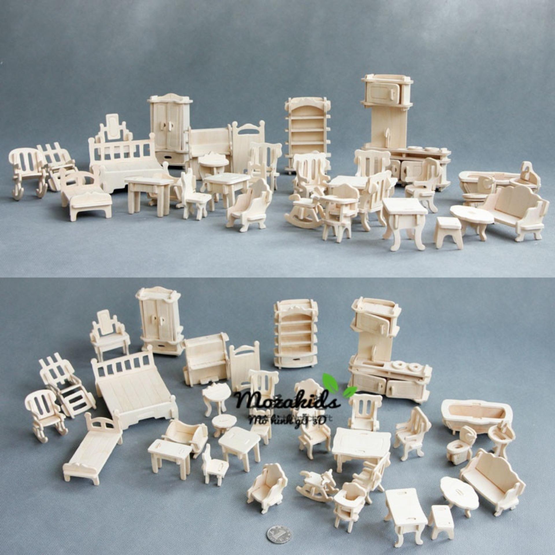 Đồ Chơi Lắp Ráp Gỗ 3D Mô Hình Nội Thất 36 Món Giá Giảm