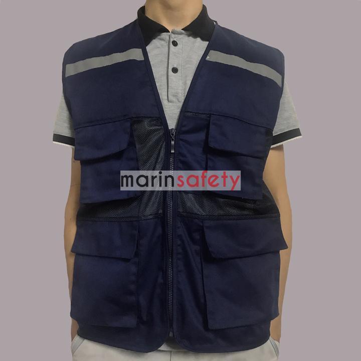 Áo gile bảo hộ 4 túi hộp vải kaki kết hợp vải lưới màu tím than (LOẠI TỐT)