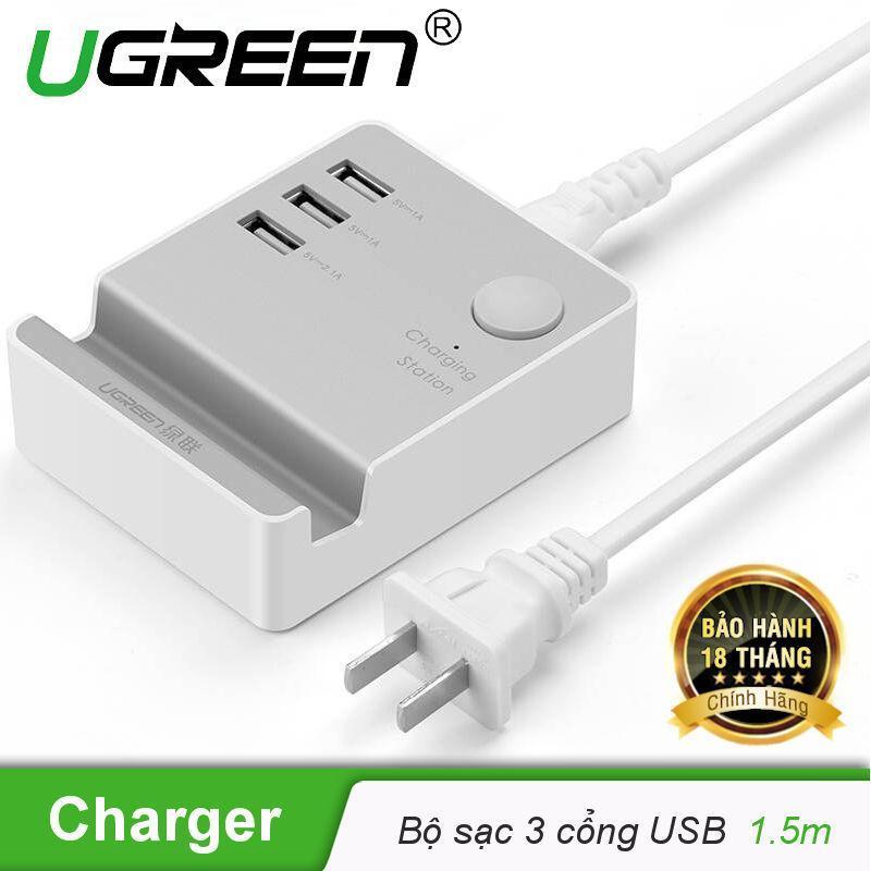 Bộ Sạc 3 cổng USB 20W max có giá đỡ điện thoại, máy tính bảng UGREEN CD101 20361 - Hãng phân phối chính thức