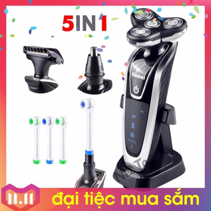 Máy cạo râu đa năng 5 trong 1 cao cấp KEMEI KM-5181 (Đen phối bạc)
