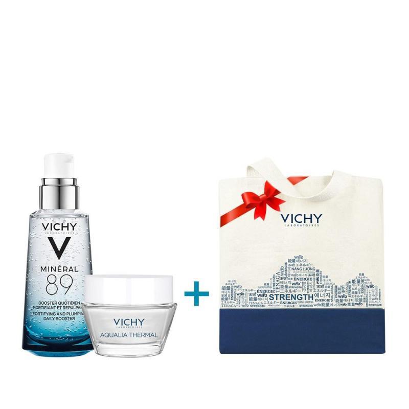 Dưỡng chất khoáng cô đặc Vichy Mineral 89 50ML tặng Aqualia gel 15ML và túi tote Vichy cao cấp