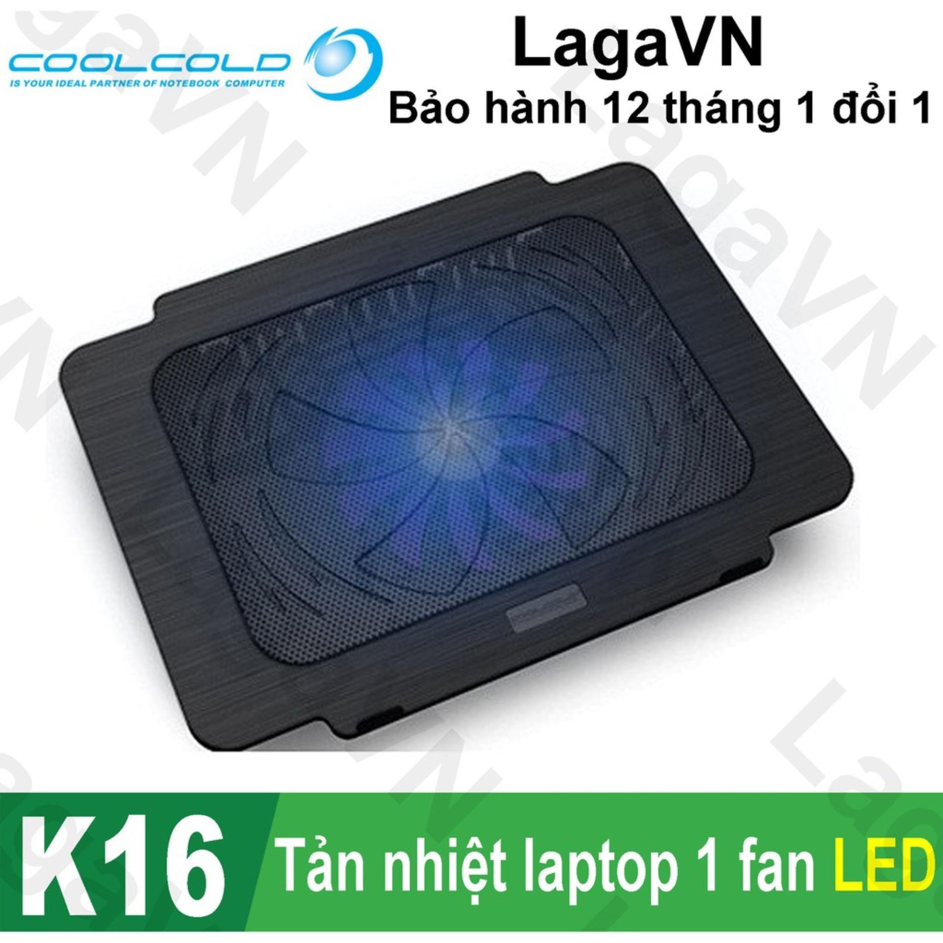 Hình ảnh Đế tản nhiệt laptop COOLCOLD Thin Ice K16 1 quạt (Đen)