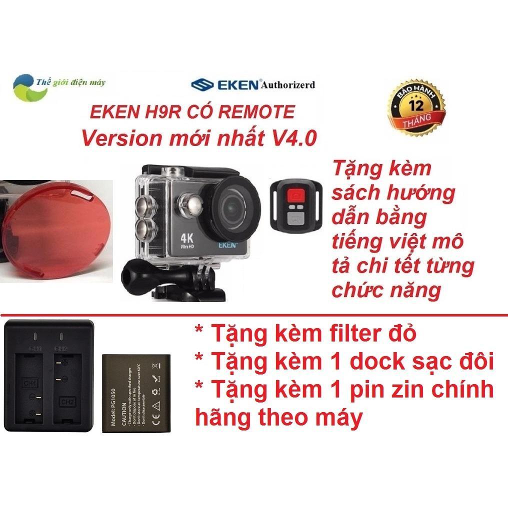 Hình ảnh Camera thể thao Eken H9R(có remote) version 5.0 tặng filter đỏ, dock sạc đôi và pin 1050