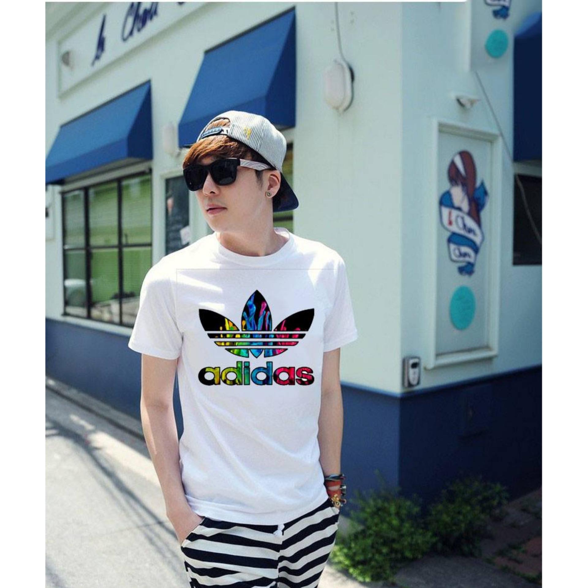 Áo thun nam kiểu in hình form rộng phong cách Hàn Quốc Adidas1
