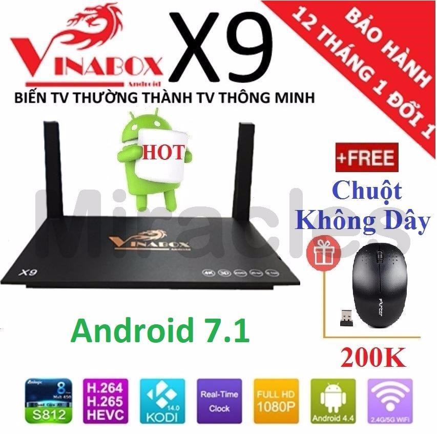 Hình ảnh Android Tivi Box VINABOX X9 (Android 7.1, hỗ trợ Voice Search) + Tặng Chuột Không Dây trị giá 200K - Phân phối bởi Miracles Company