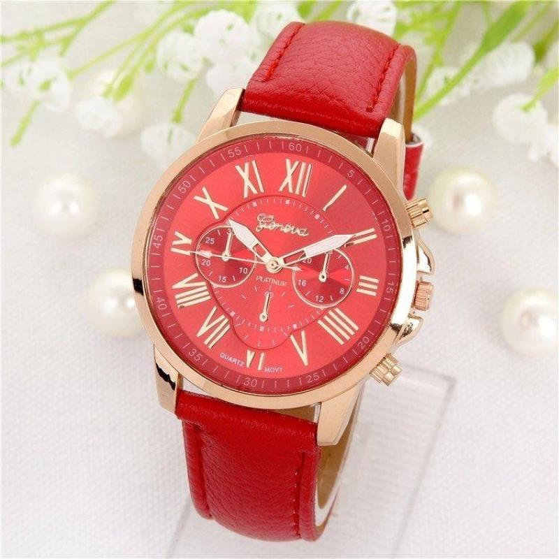 đồng hồ nữ dây da geneva (đỏ)