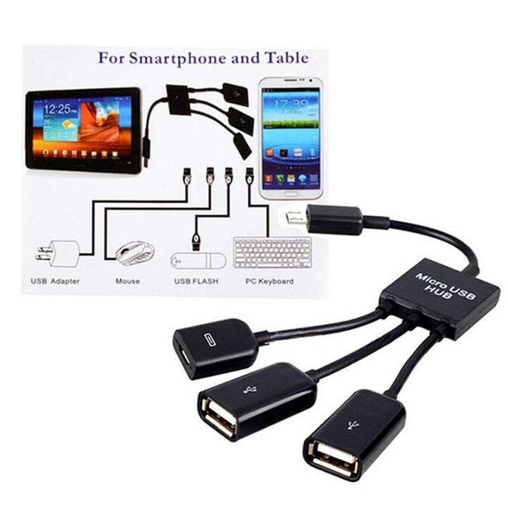 Cáp OTG Micro USB Hub OTG cho Điện thoại, Máy tính bảng (Hỗ trợ nguồn cho các thiết bị cắm ngoài)