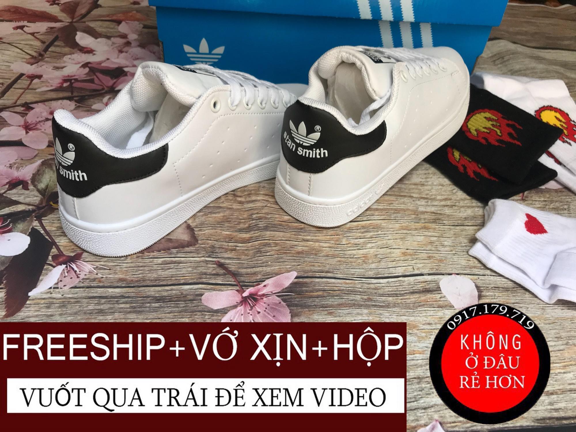 Hình ảnh [TẶNG VỚ+HỘP+VỚ] Giày Stan Smith Gót Đen Nam Nữ Hàng VNXK, Có Video