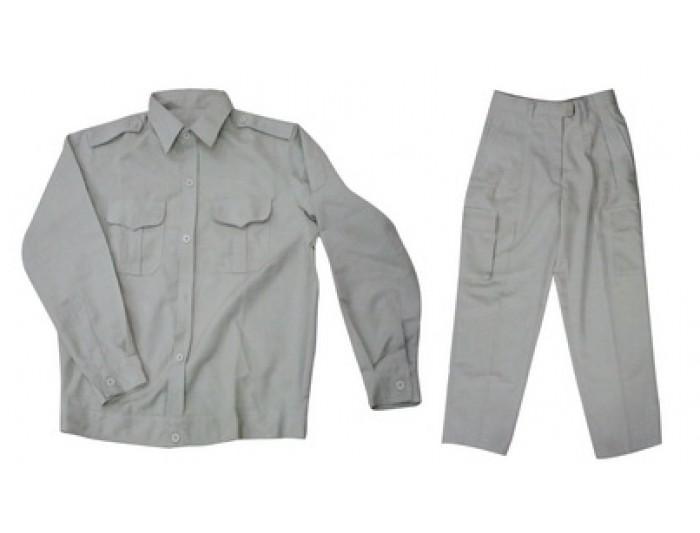 Bộ áo và quần bảo hộ lao động vải kaki xanh ghi size XL