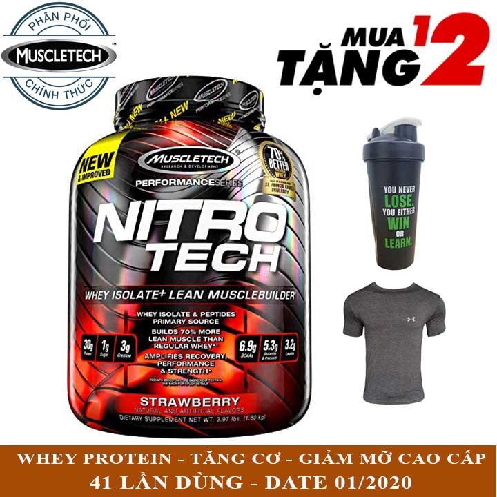 Sữa tăng cơ cao cấp Whey Protein Nitro Tech của MuscleTech hương Strawberry hộp 41 lần dùng - Phân phối chính thức