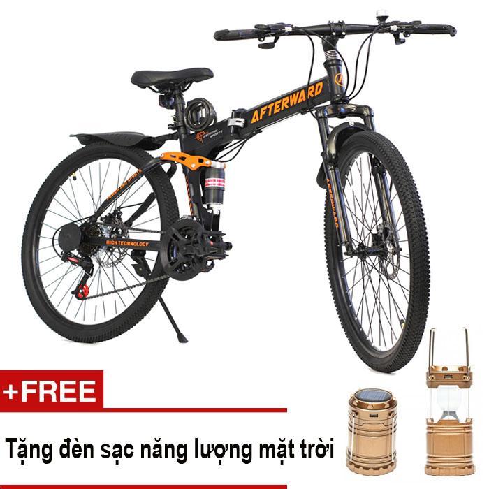 Xe đạp địa hình gấp được Afterward + Tặng đèn sạc, bơm và khóa chống trộm