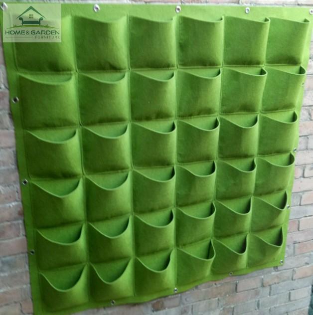 Túi trồng cây cảnh, rau sạch treo tường tại nhà 1x1 mét (36 túi) (Xanh) -