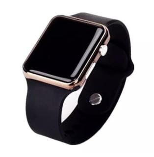 Đồng hồ điện tử thể thao chống nước mặt gương vuông, dây cao su ,Và các loại đồng hồ Kim dây da, Dây thép (Đen) thumbnail