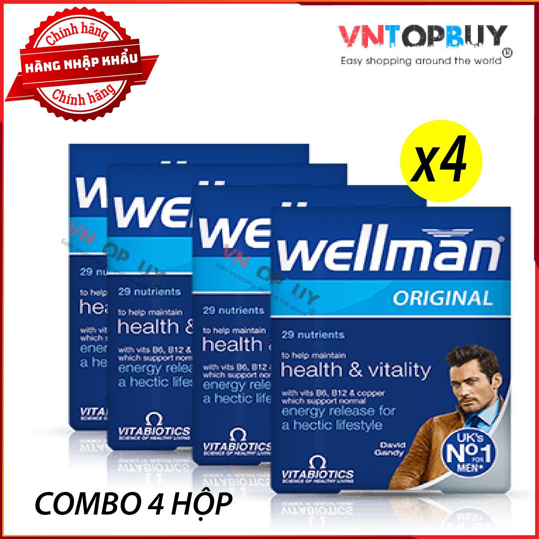 04 hộp Vitamin WELLMAN Nội địa UK sản phẩm chăm sóc sức khỏe nam giới số 1 Anh Quốc - VN TopBuy