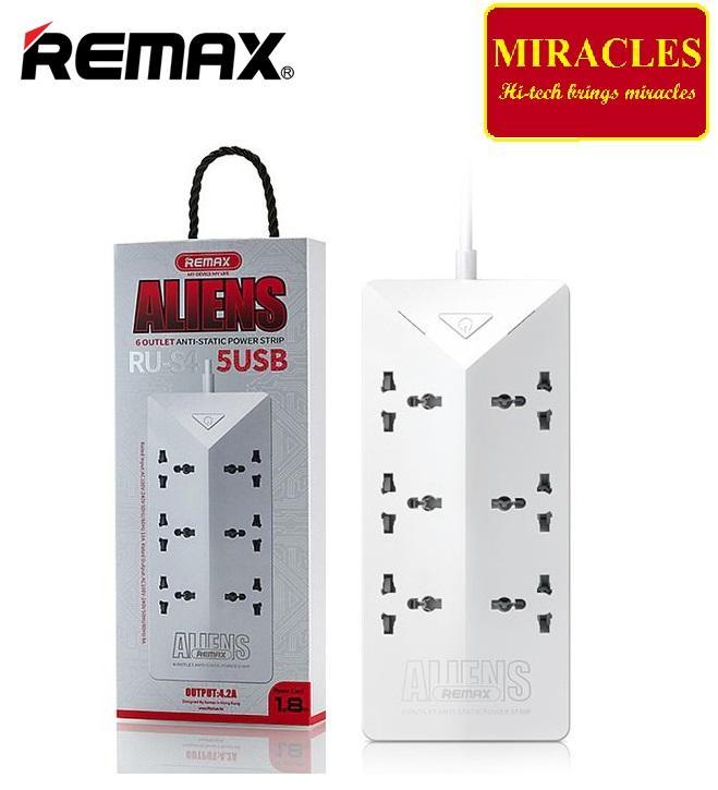 Ổ Cắm Điện Thông Minh REMAX RU-S4 (6 ổ cắm điện, 5 cổng sạc usb) - Phân Phối bởi Miracles Company