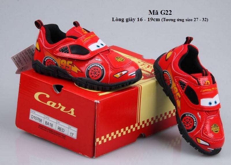 Giày Ô Tô MCQueen Cho Bé Trai 2 - 7 Tuổi Xuất Nhật G22