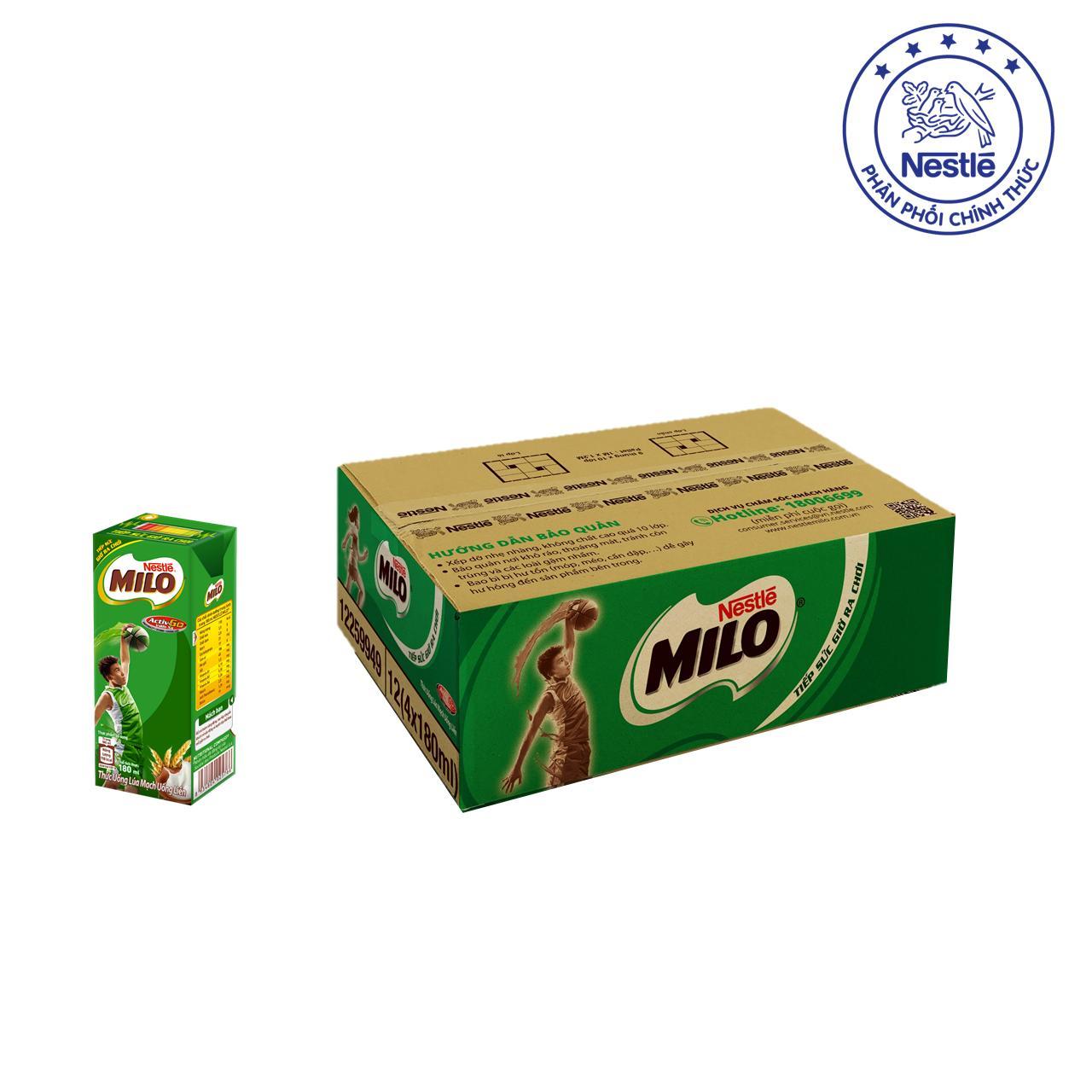 Thùng 12 lốc Nestlé MILO Uống Liền (48 hộp x 180ml)