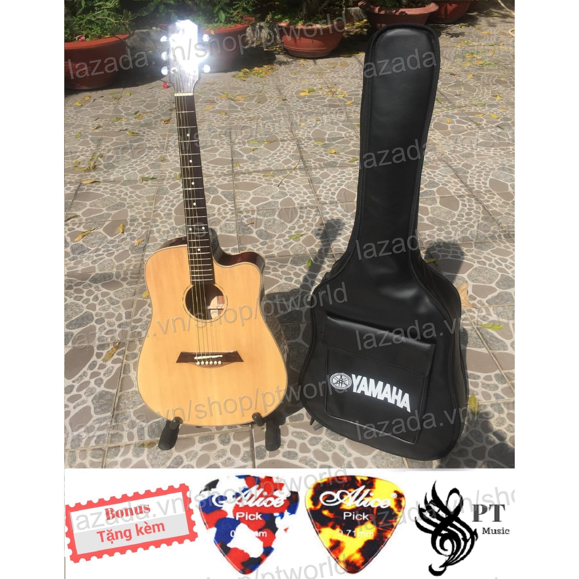 Giá Bán Đàn Guitar Acoustic Cao Cáp Gõ Hòng Đào Nguyen Tám Dáng D Khuyét Bao Da 3 Lớp 2 Picks Alice Nhãn Hiệu Oem