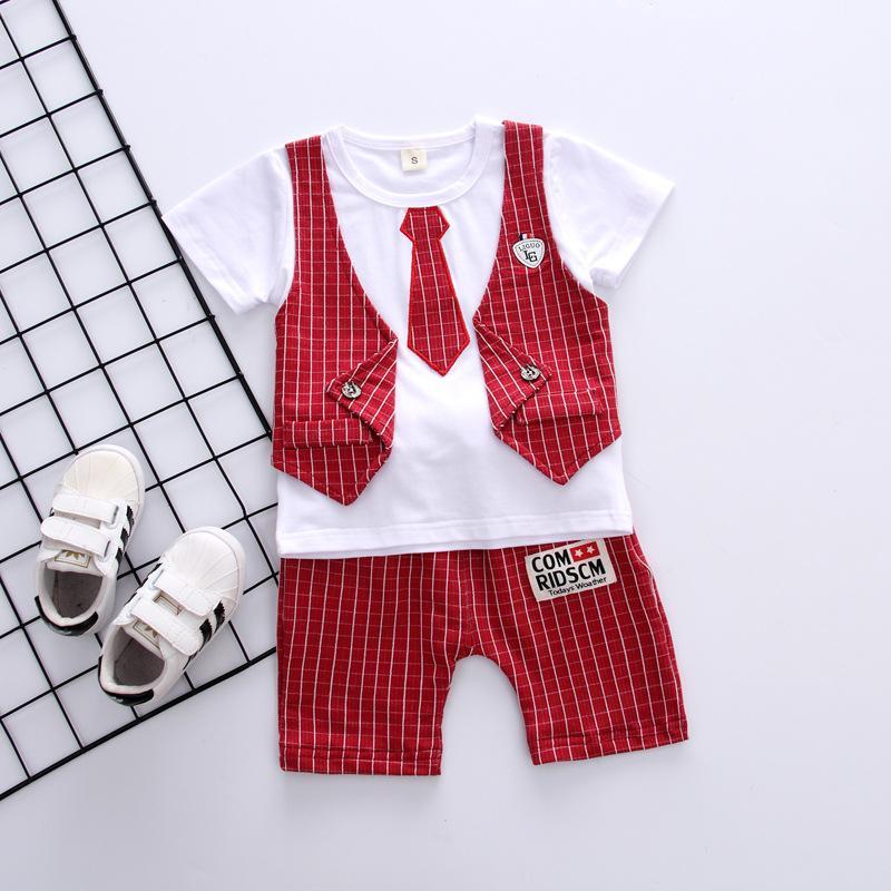 Bộ thun cotton giả vest cà vạt cho bé trai từ 8kg đến 18kg( màu đỏ, xanh, xám) Nhật Bản