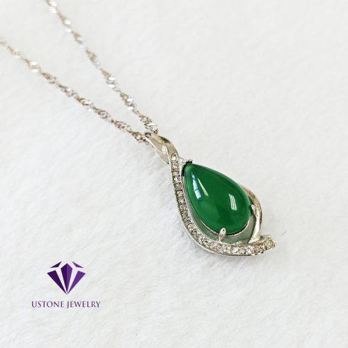 Dây Chuyền Bạc Nữ Mặt Đá Ngọc Đế Quang (Chrysoprase) Cao Cấp- Thương hiệu trang sức đá quý Ustone