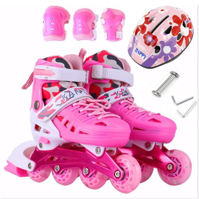 Giá bán Giày trượt Patin trẻ em tặng mũ và đồ bảo hộ hồng (5 đến 14 tuổi)