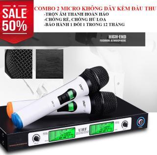 giá dàn karaoke, Micro karaoke không dây. Combo 2 micro không dây và đầu thu UHF 2 dâu UK-08, tích hợp mail trộn âm KOREA , âm thanh sống động, chân thực. Bảo hành bởi Lucky Store SG. thumbnail