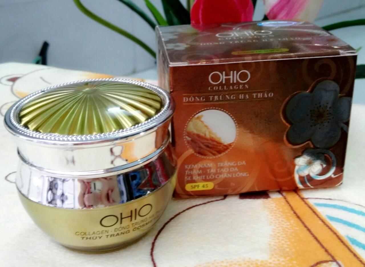 Mỹ phẩm OHIO Collagen - Đông Trùng Hạ Thảo - Kem trị nám, trắng da, thâm, tái tạo, se khít lỗ chân lông (20g)