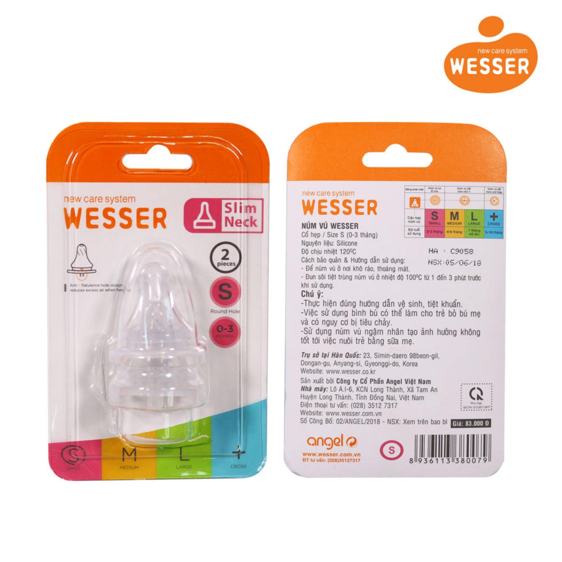 Bộ Đôi Núm Vú Wesser Cổ Nhỏ / Size S ( Cho Bé 0-3 Tháng Tuổi )