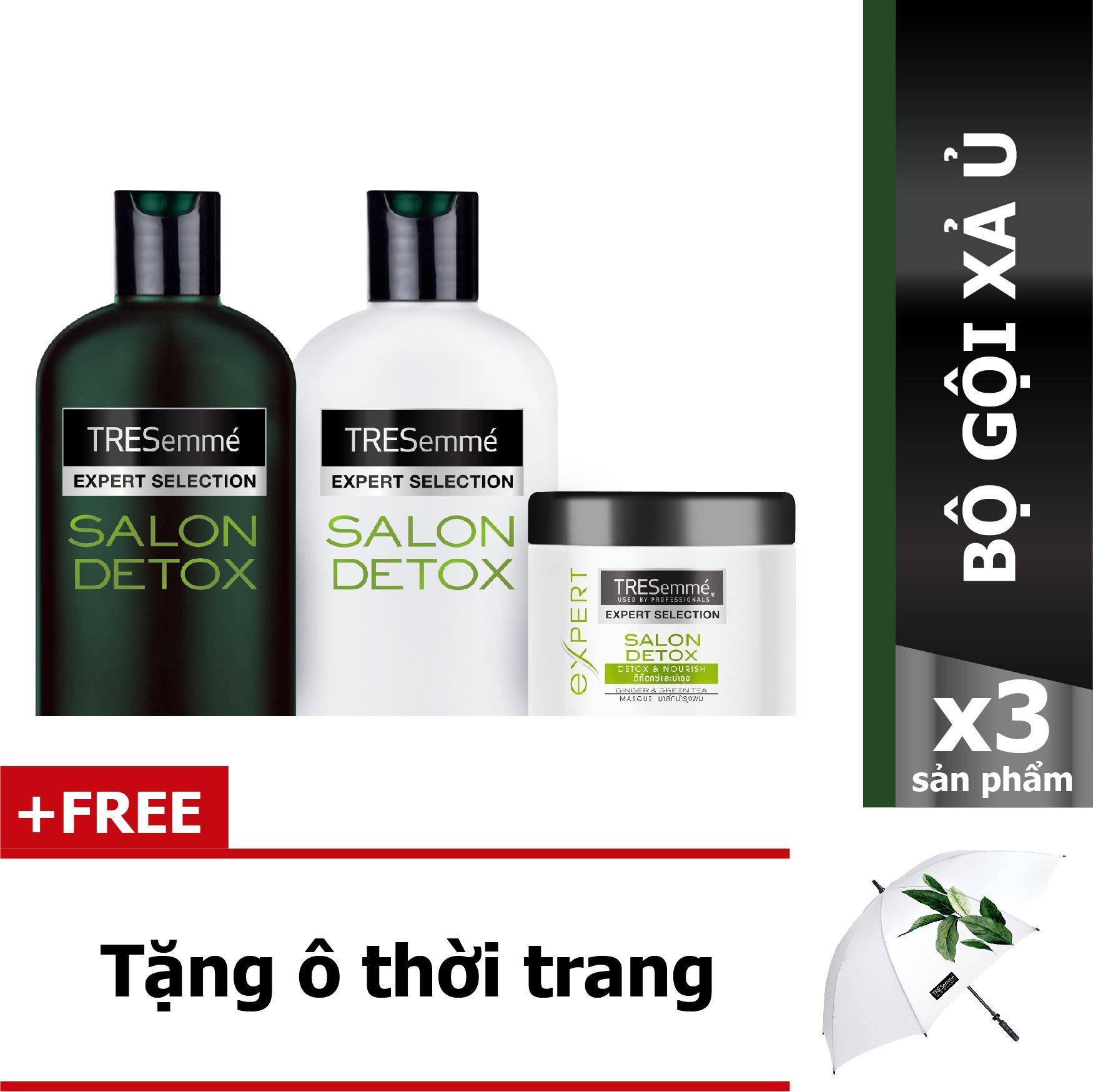 Combo Tresemme Salon Detox bao gồm: Dầu gội 340g + dầu xả 340g + Kem Ủ 180ml + Tặng 01 dù Detox