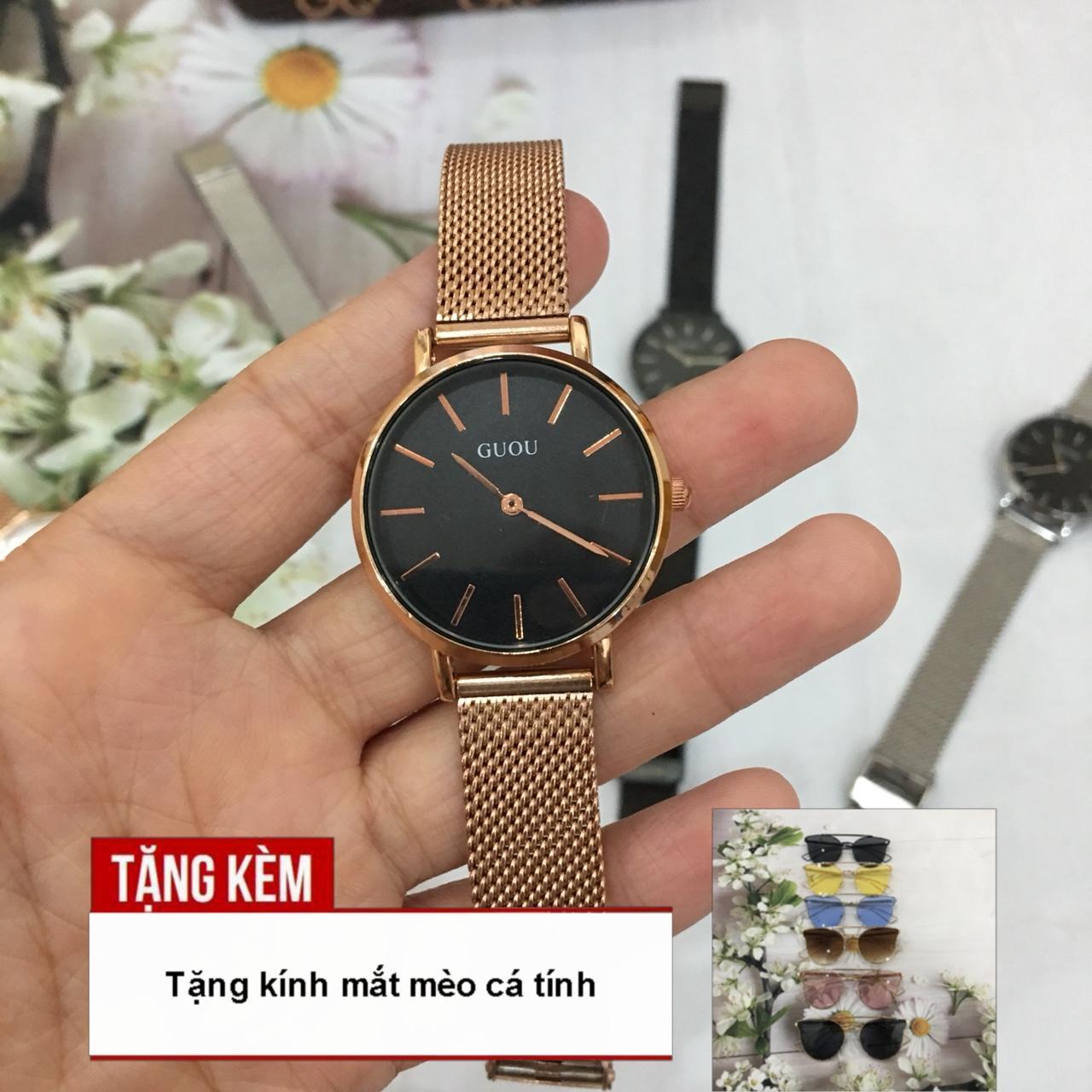 Nơi bán [TẶNG NGAY KÍNH MẮT MÈO THỜI TRANG] Đồng hồ dây thép lụa dành cho nữ của hãng GUOU thiết kế mặt 2 kim chạy, vạch số rõ ràng siêu trẻ trung A43-CKD