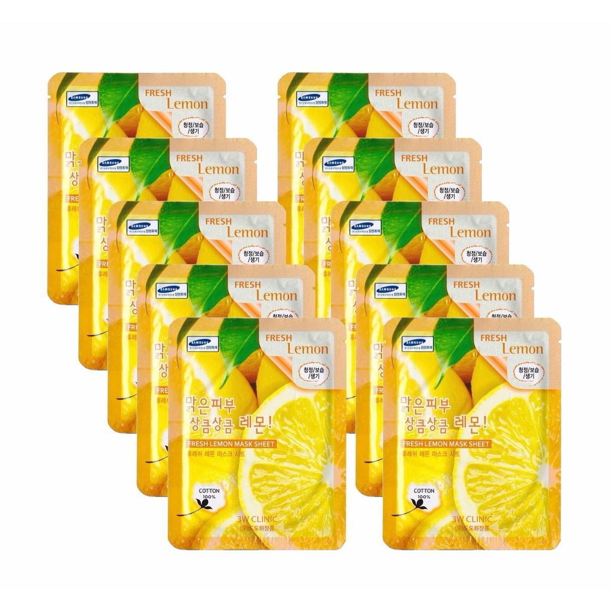 Bán Bộ 10 Goi Mặt Nạ Dưỡng Trắng Sang Da Chiết Xuất Chanh Tươi 3W Clinic Fresh Lemon Mask Sheet 23Ml X10 3W Clinic