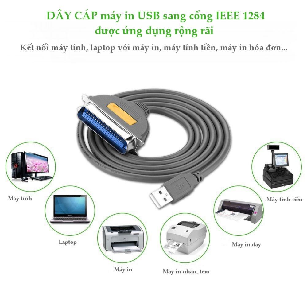 Dây máy in USB sang IEEE1284 Parallel 2m UGREEN CR124 30227