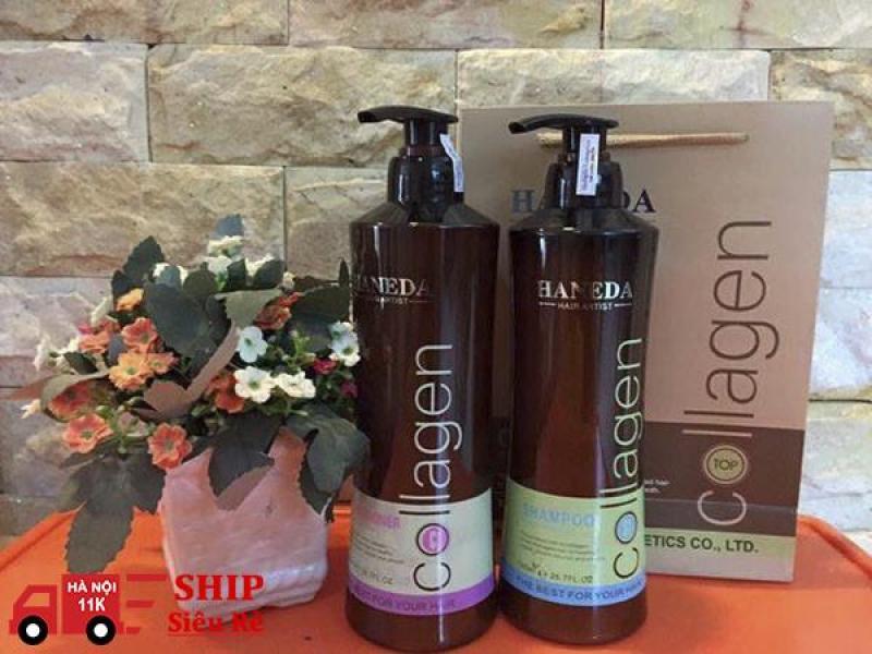 Cặp dầu gội xả Collagen Haneda (500ml x 2) - Phục hồi mái tóc hư tổn giá rẻ