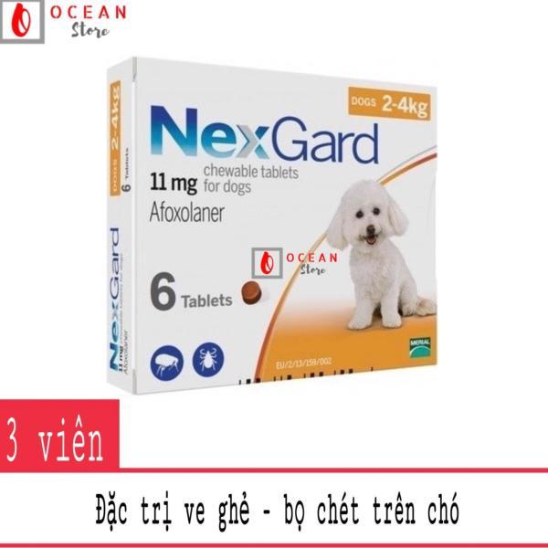 Thuốc diệt ve ghẻ, bọ chét trên chó - Combo 3 viên Nexgard cho chó 2-4kg (combo 3 tablets 2-4kg - No Box)