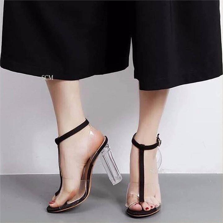 Giày sandal quai trong chữ i 7p gót trong-ĐEN
