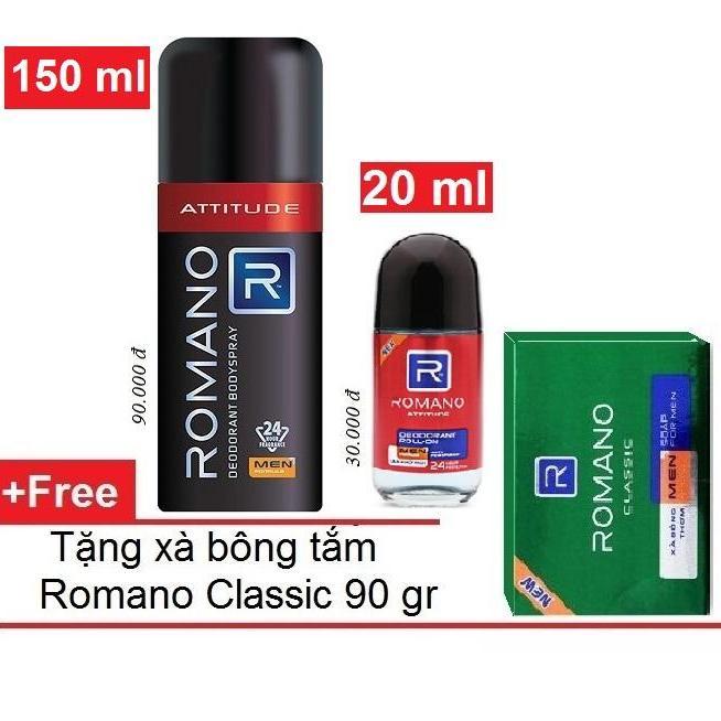 Hình ảnh Romano - Bộ Sản phẩm Xịt ngăn mùi toàn thân 150 ml + Lăn khử mùi 20 ml - ATTITUDE + Tặng xà bông tắm 90gr